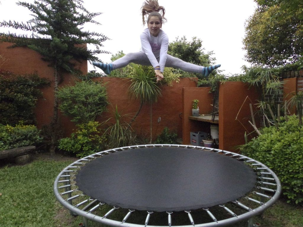 dangerous antics on trampoline